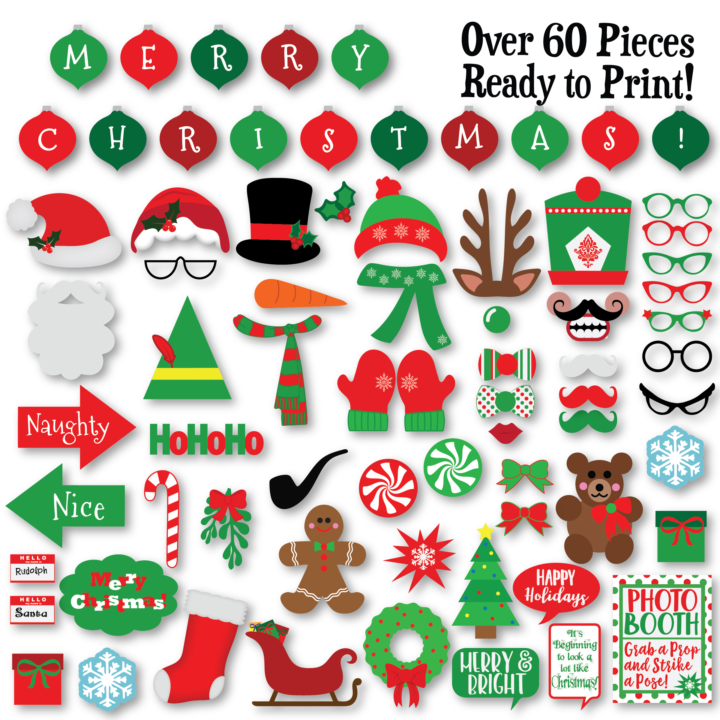 Christmas Photo Booth Props - SVG Cut File - PNG - DXF example image 3