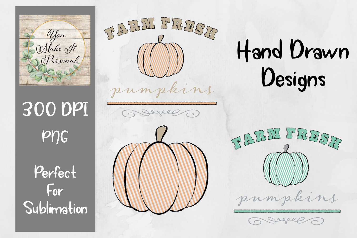 Set of 3, Farm Fresh Pumpkins, Hand Drawn Pumpkin Designs example image 1