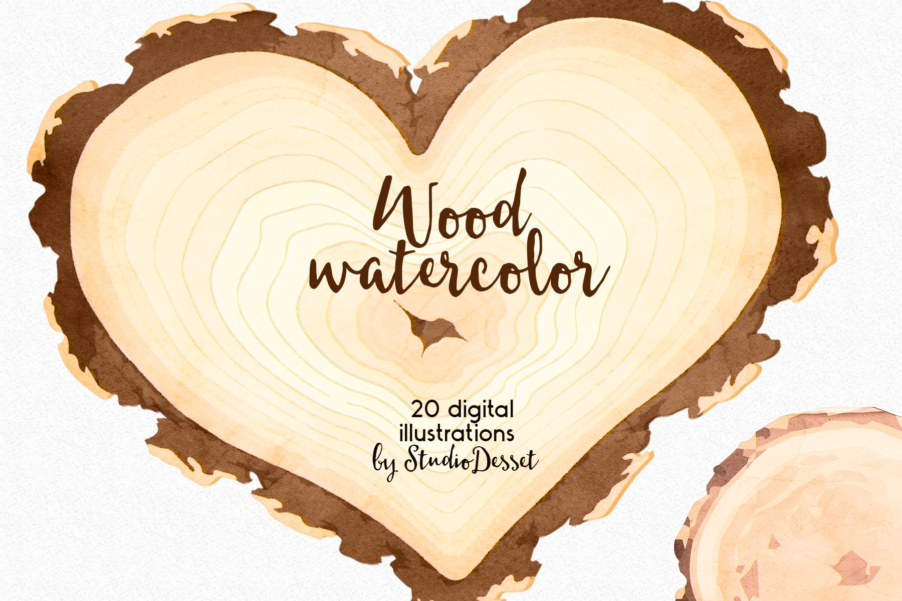 Rustic Wood Watercolor Illustrations example image 4