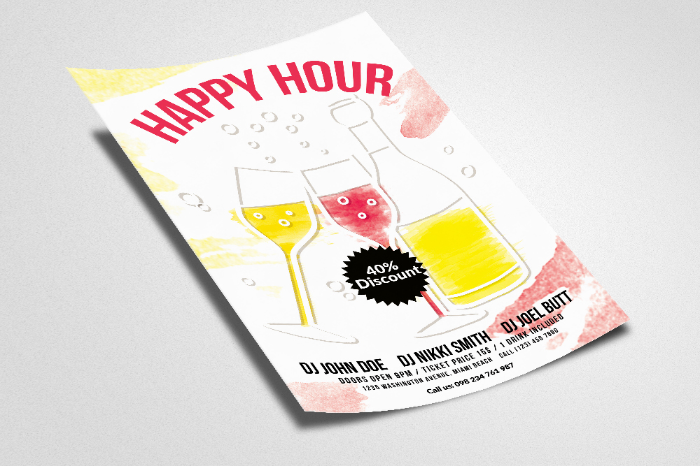 Happy Hour Flyer Template 05 example image 3