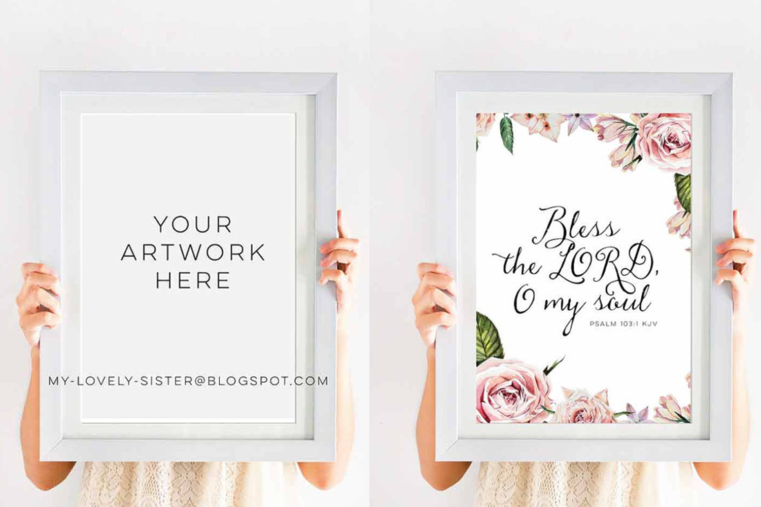 Simple wood frame mock up, Empty White Wooden Frame, White Wood Display Empty Frame, Simple Blank Empty Frames, Blank Frame Mockups example image 3