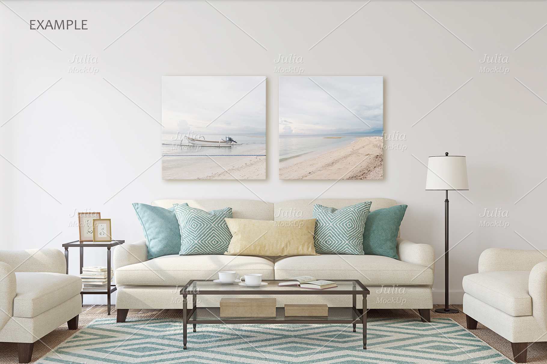 Living-room interiors. Wall&Frames Mockup. example image 3