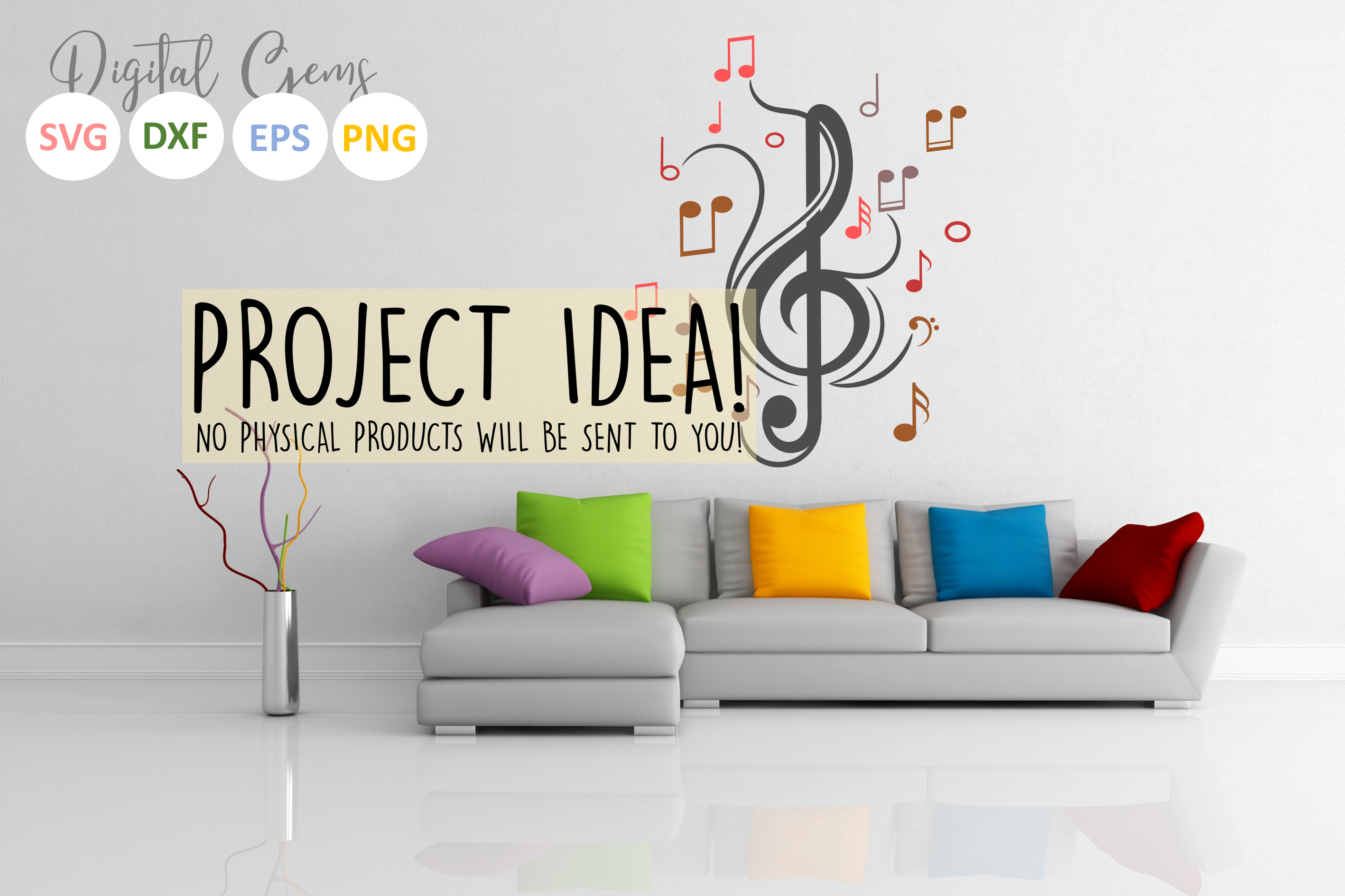Treble clef with music notes SVG / DXF / EPS / PNG files example image 6