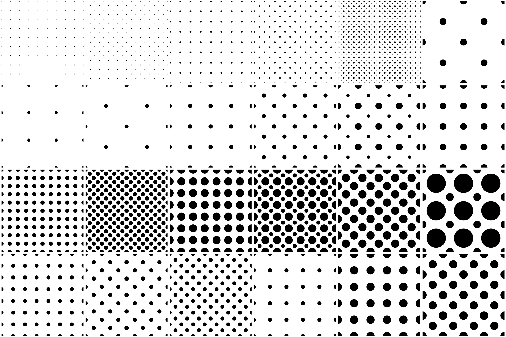 Set of dotted seamless patterns. example image 1