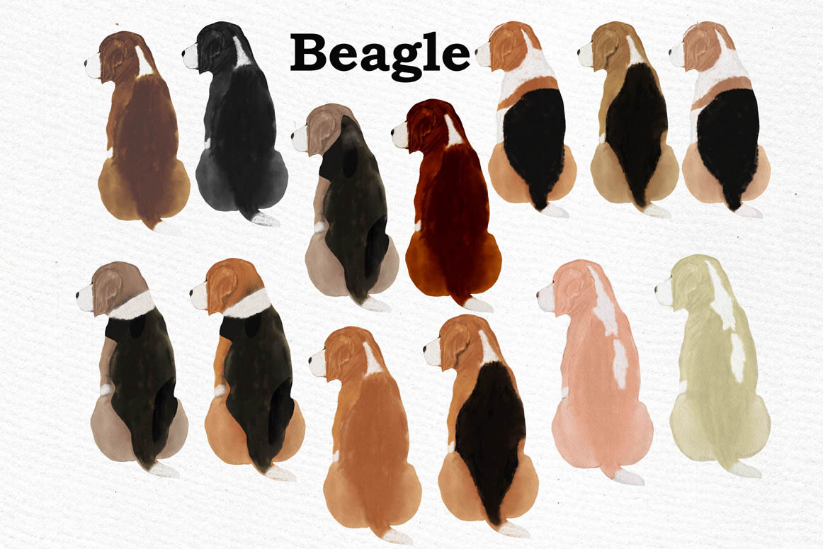 Dogs Clipart,Dog breeds Pet clipart,Watercolor dogs clipart example image 7