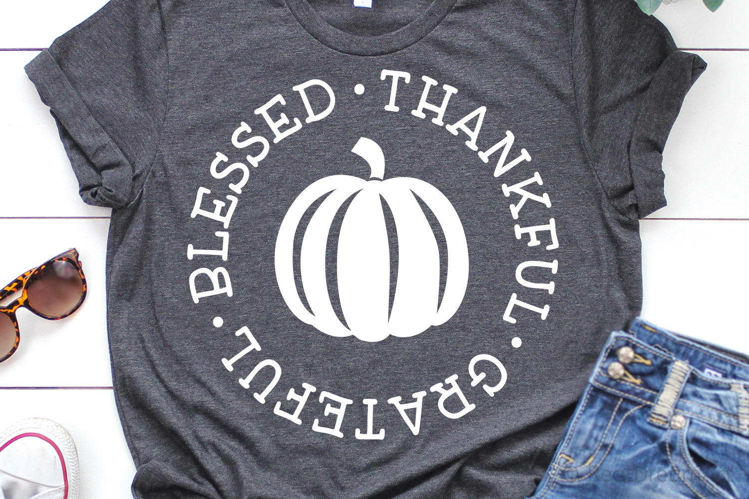 Thankful Grateful Blessed Thanksgiving SVG, DXF, PNG, EPS example image 1