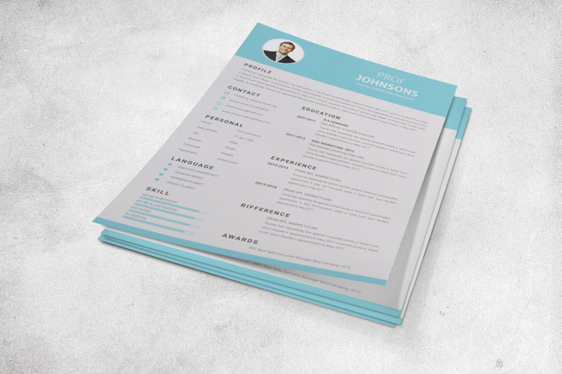 Professional Cv Resume Bonus business card Word/PSD,AI example image 8