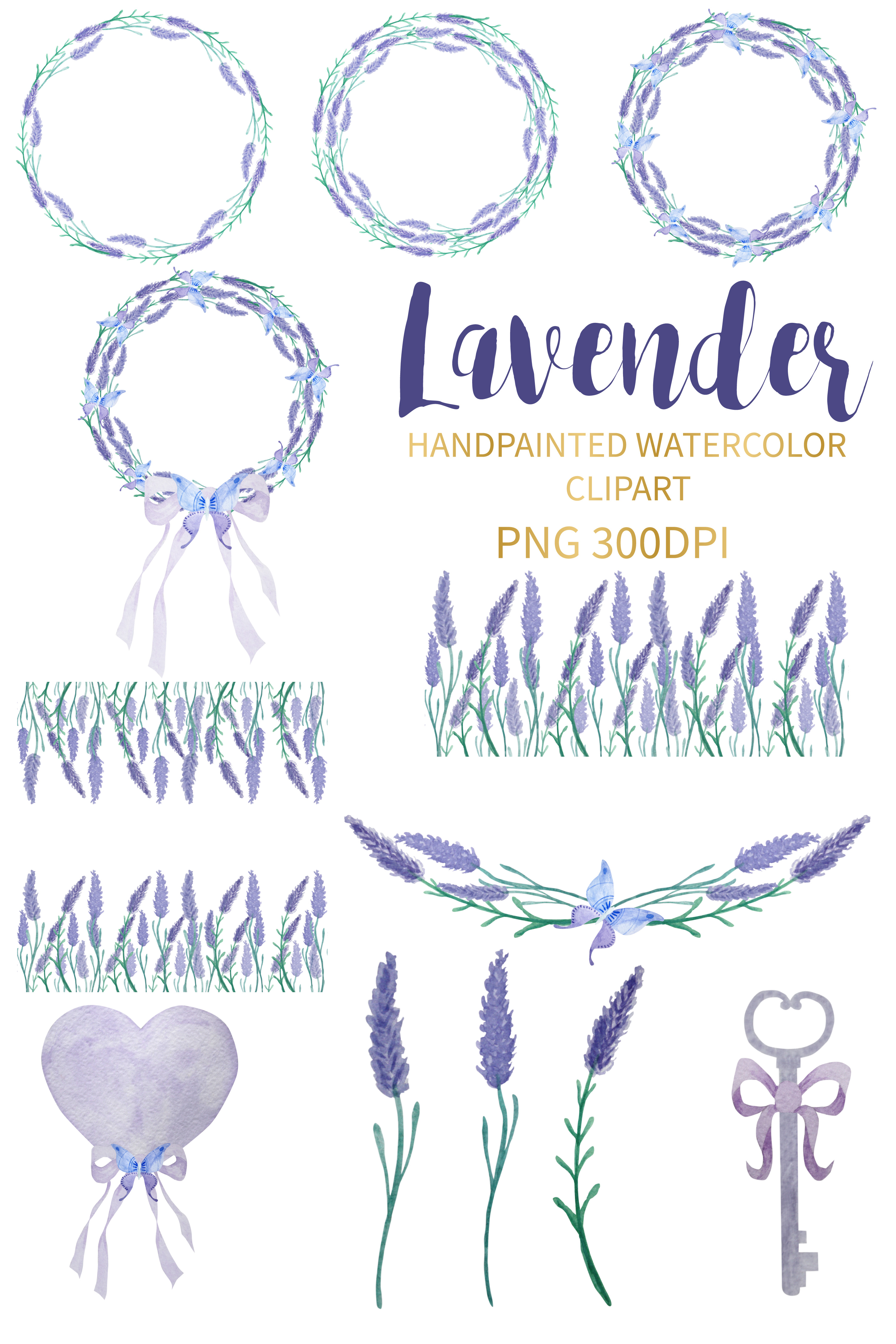 Lavender Watercolor Clipart example image 2