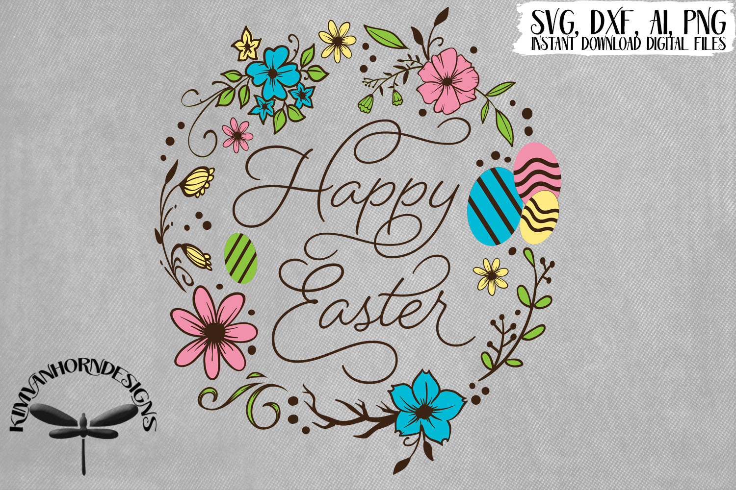Happy Easter Floral Wreath example image 1
