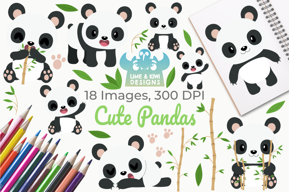 Cute Pandas Clipart, Instant Download Vector Art example image 1