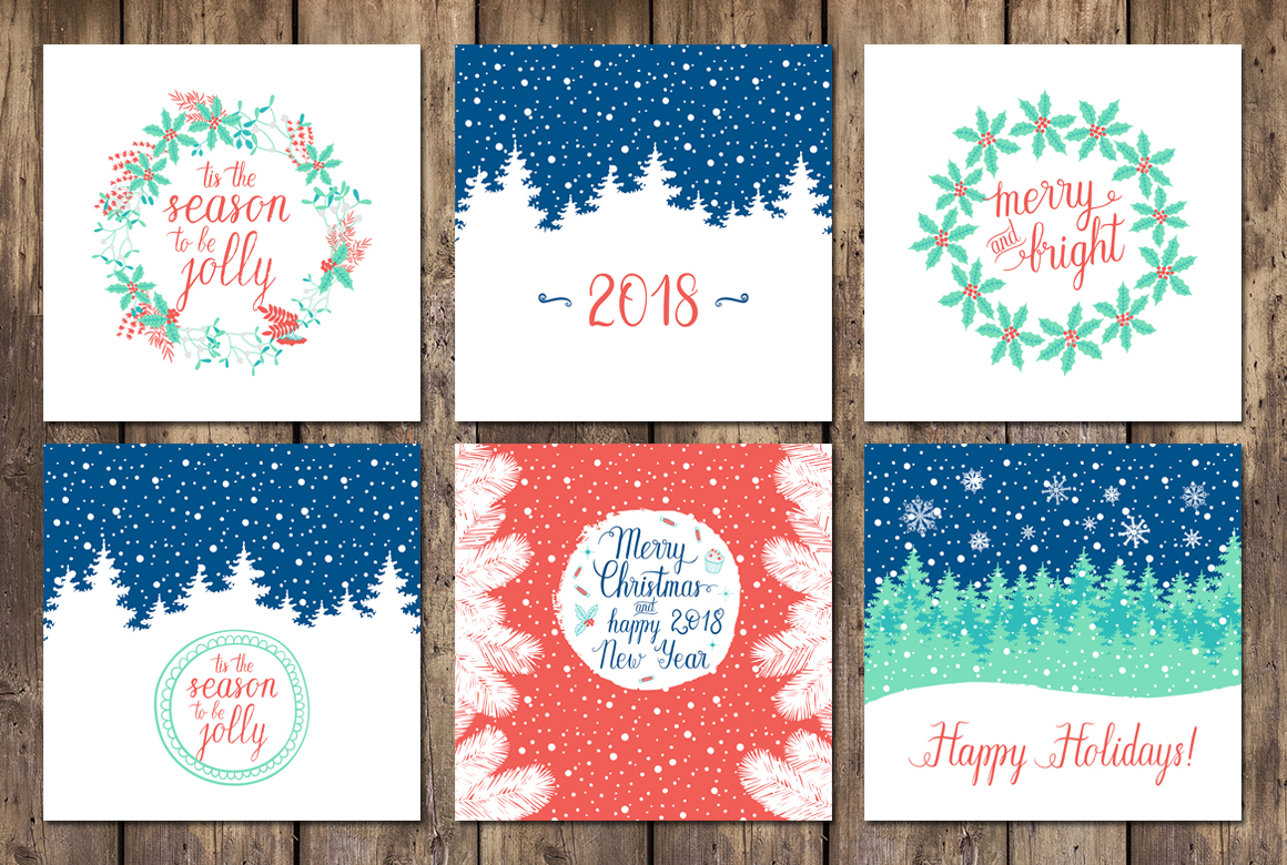 12 Holiday cards + 12 patterns example image 7