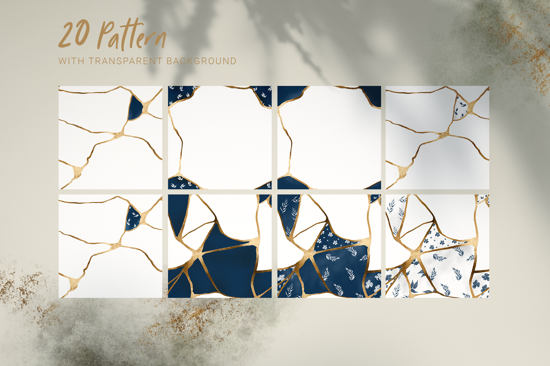Kintsugi seamless pattern set example image 2