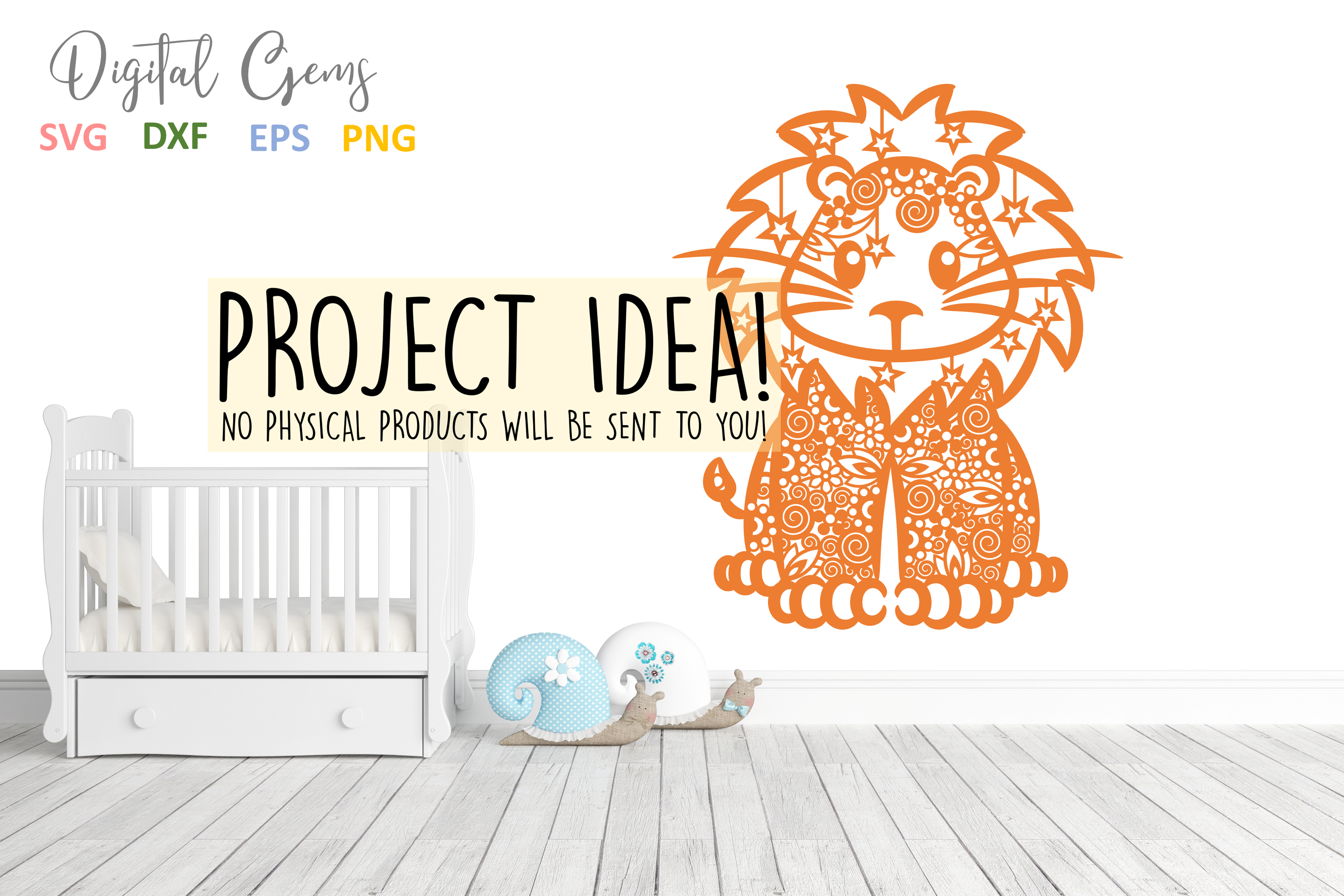 Lion paper cut SVG / DXF / EPS files example image 4