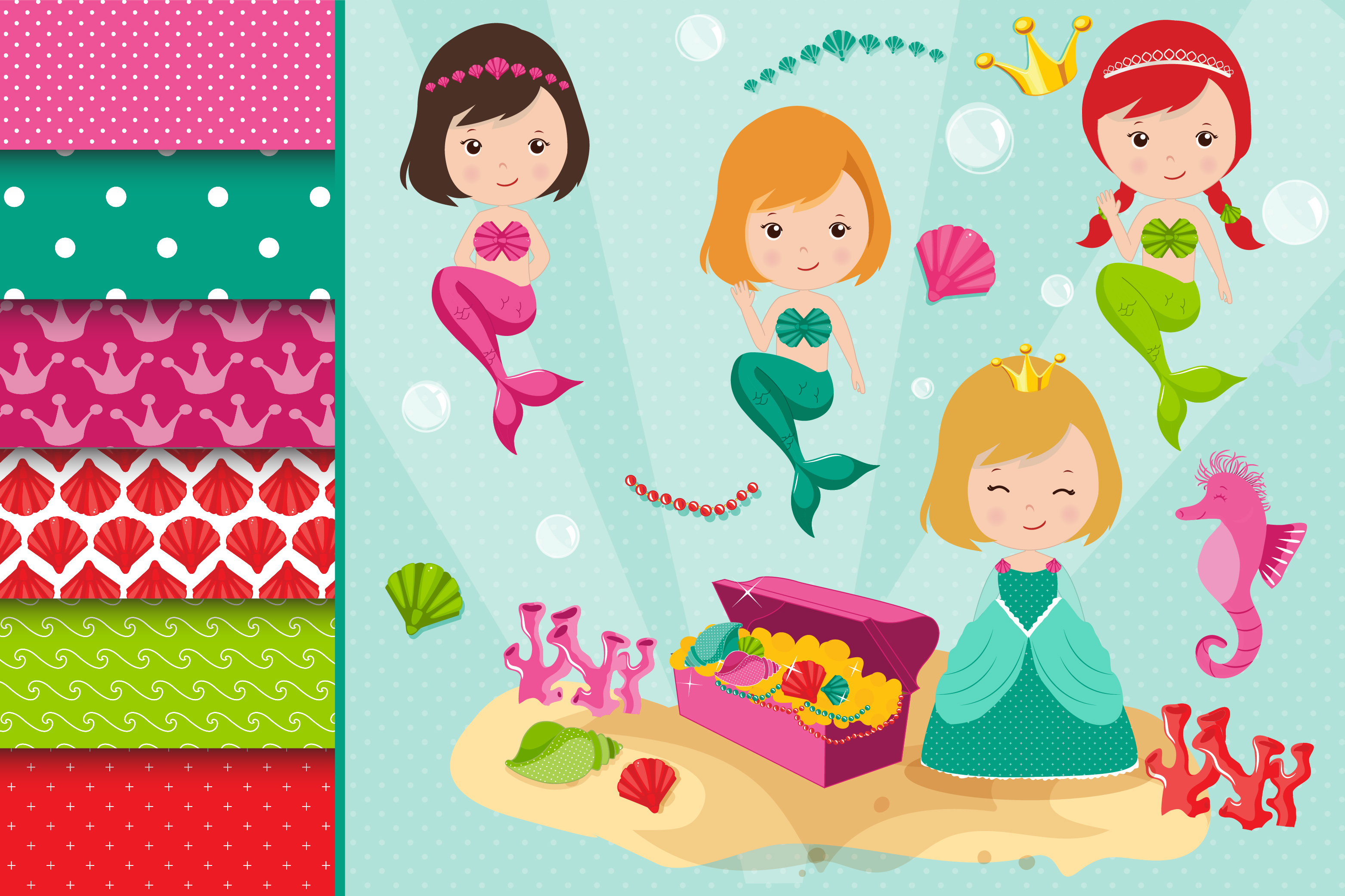 Mermaids graphics, Princess clipart set example image 1