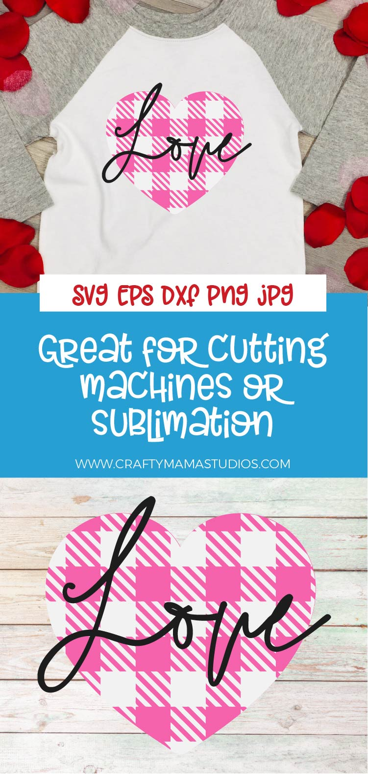 Valentine's Day SVG, Pink Buffalo Plaid Heart Sublimation example image 3