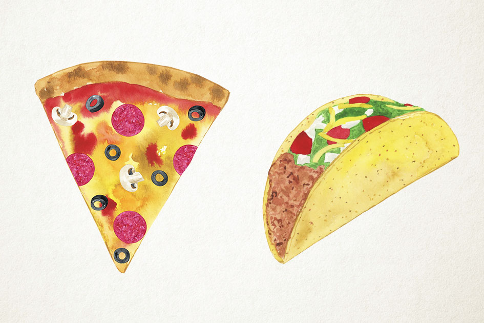 Watercolor Junk Food Clipart, Fast Food Clipart, Pizza example image 3