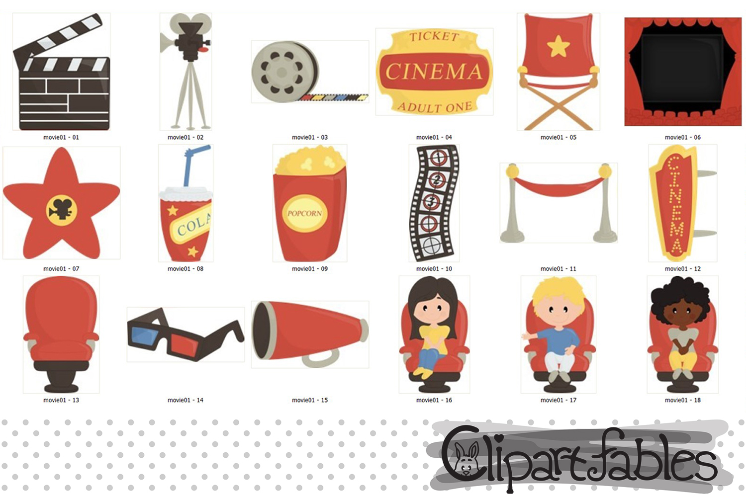 MOVIE clipart, Cinema clip art, Movie party example image 2