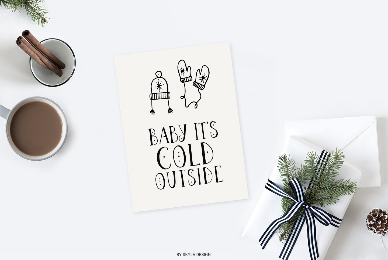 Joyeux Christmas font & Dingbat clipart illustrations example image 6
