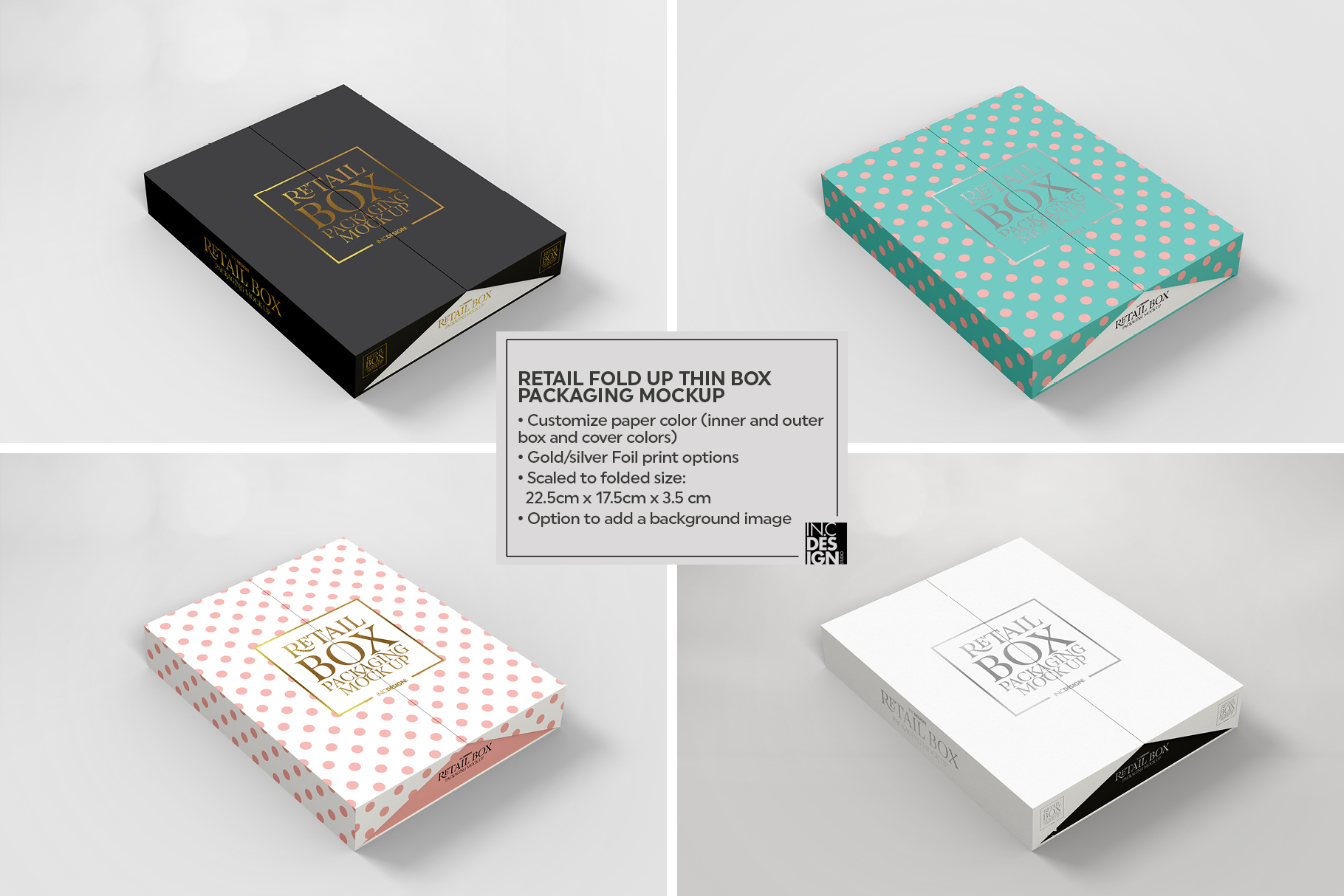 Fold Up Retail Thin Box Packaging Mockup example image 4