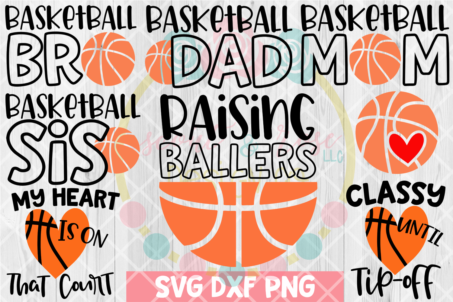 Basketball Bundle SVG DXF PNG 8 Cutting Files example image 1