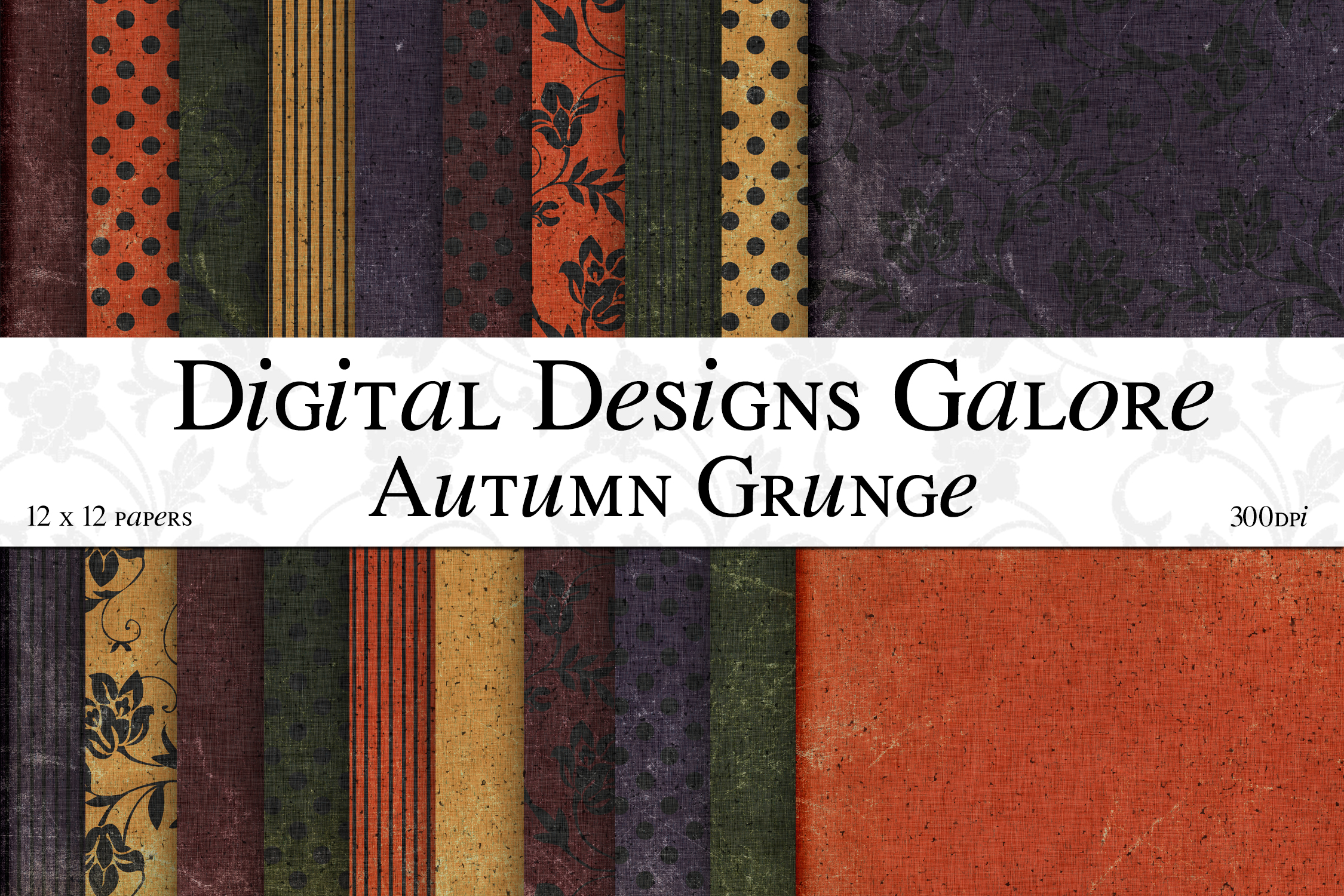 Autumn Grunge Digital Paper Pack example image 1
