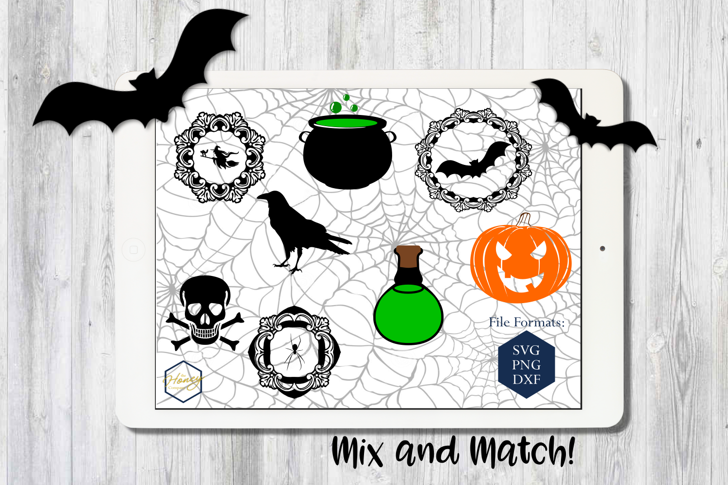Halloween Set SVG PNG DXF Spider Bats Skull Potion Witch example image 1