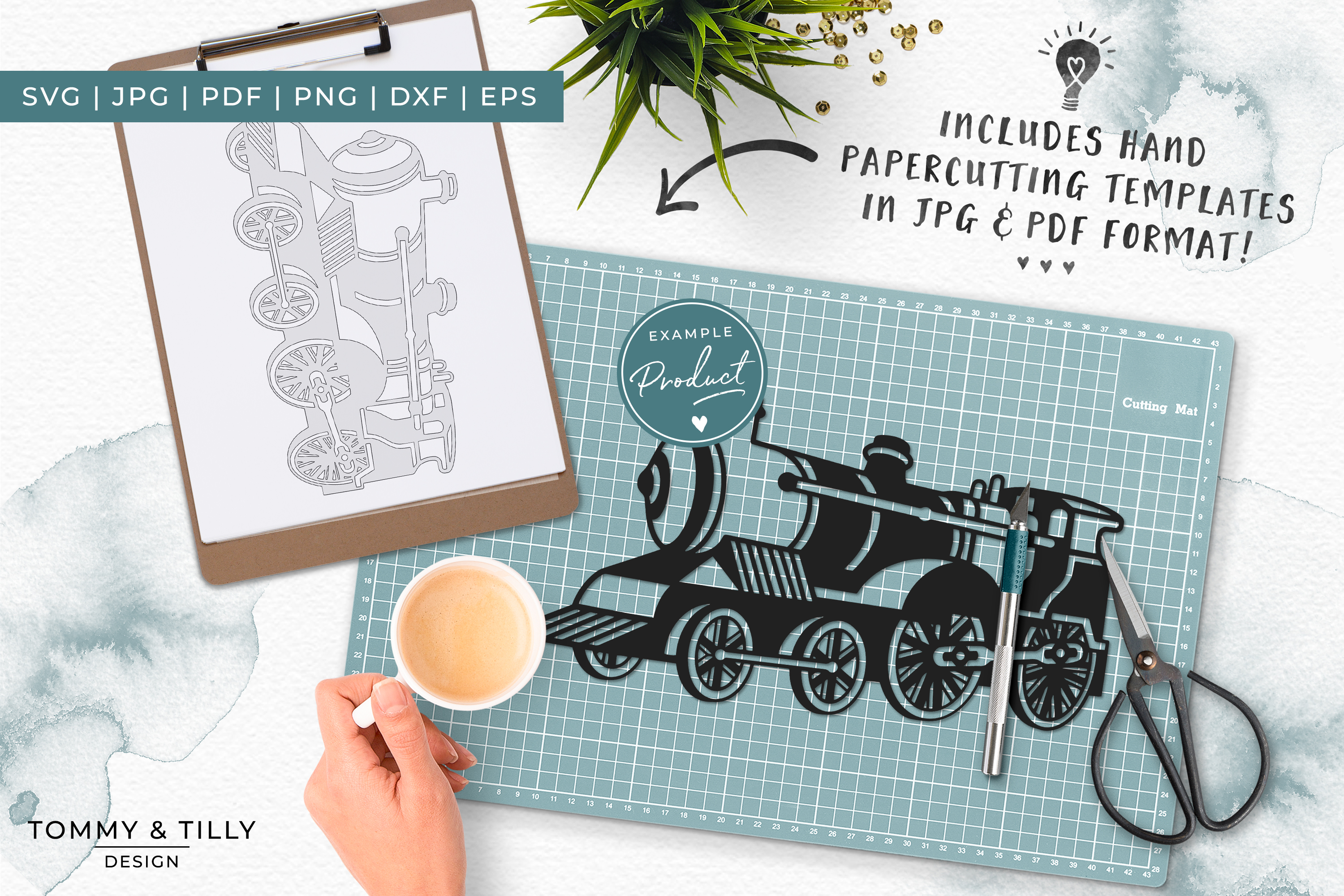 Steam Train- SVG EPS DXF PNG PDF JPG Cut File example image 6