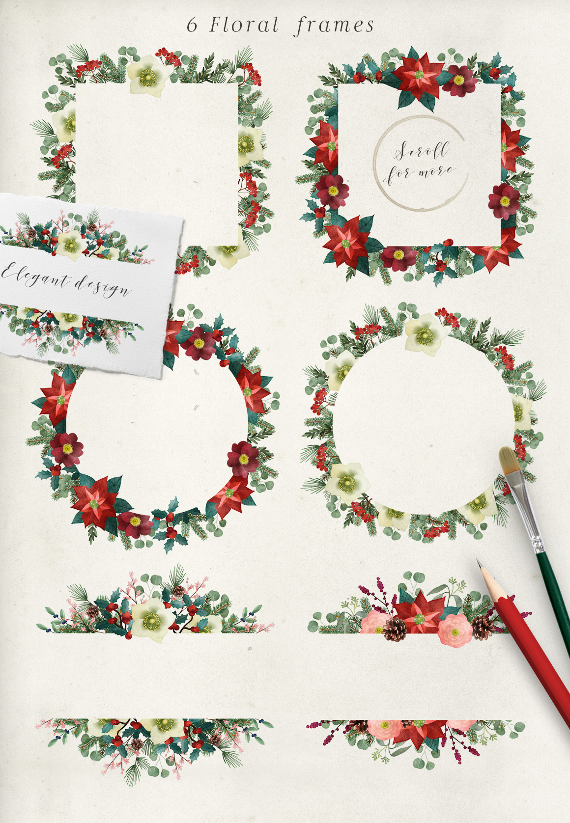 Vintage Christmas watercolor set example image 7