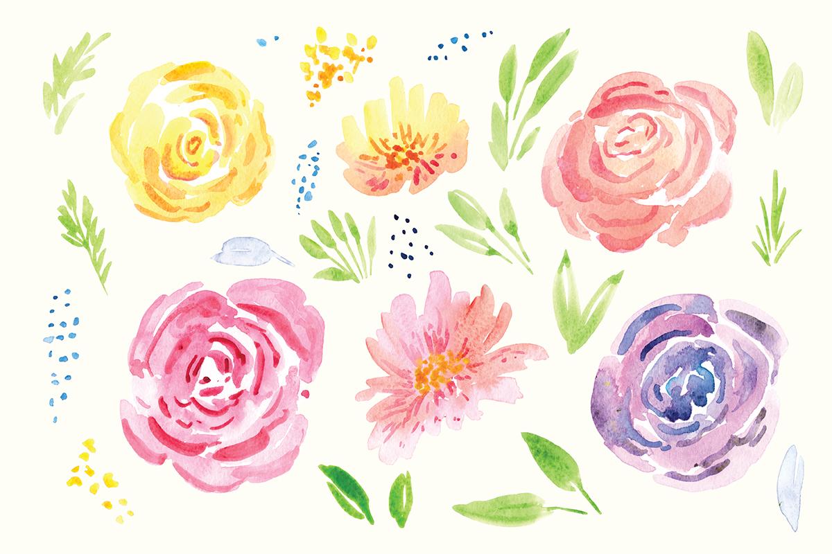 Delicate Flower Watercolor Clip Art example image 5