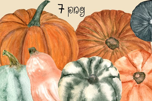 15 Watercolor Pumpkin Clip Art Set example image 2