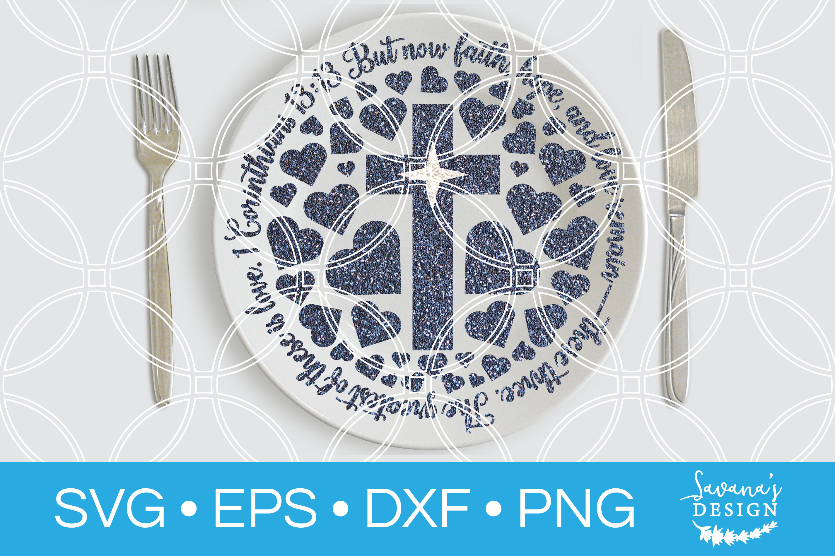 1 Corinthians 13 13 Plate SVG Christmas SVG Serving Plate example image 2