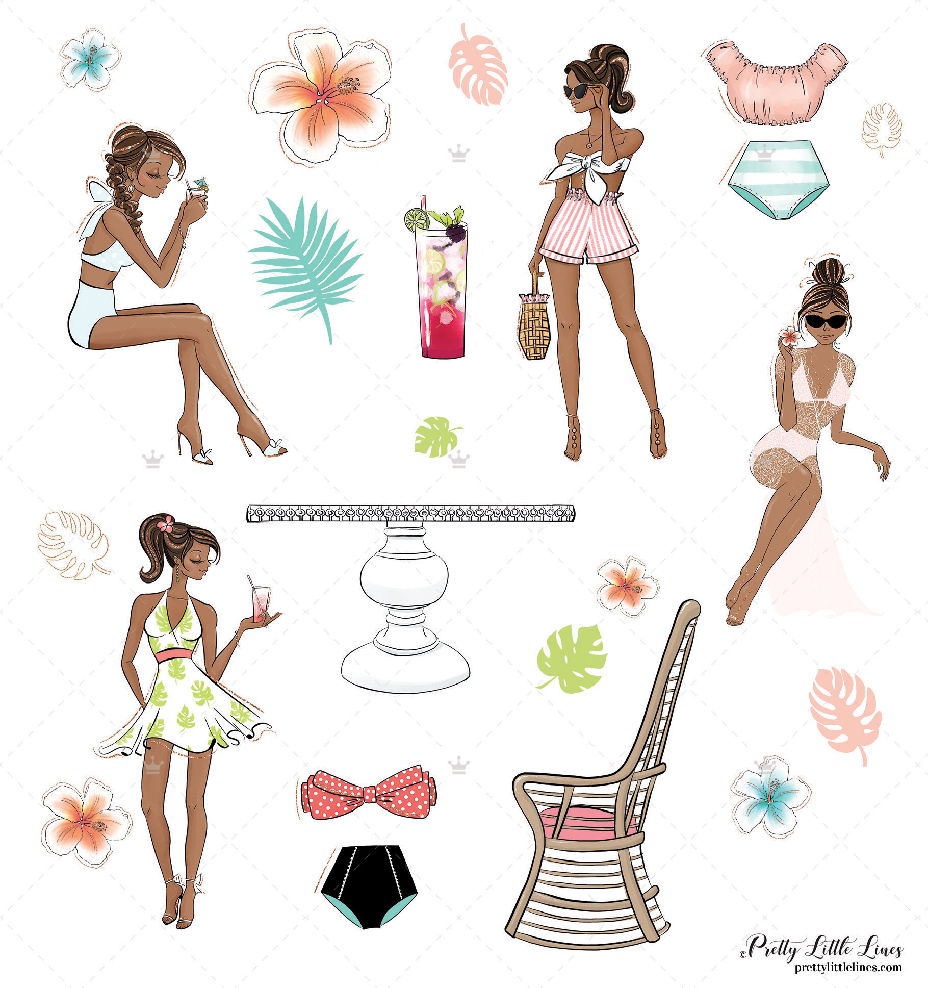 Tropical Summer Girls Clip Art example image 5