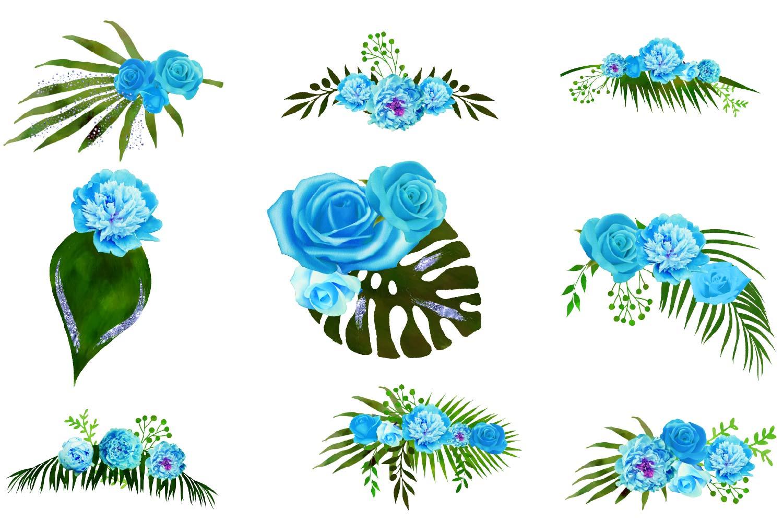 Blue Floral Arrangements Clipart example image 2