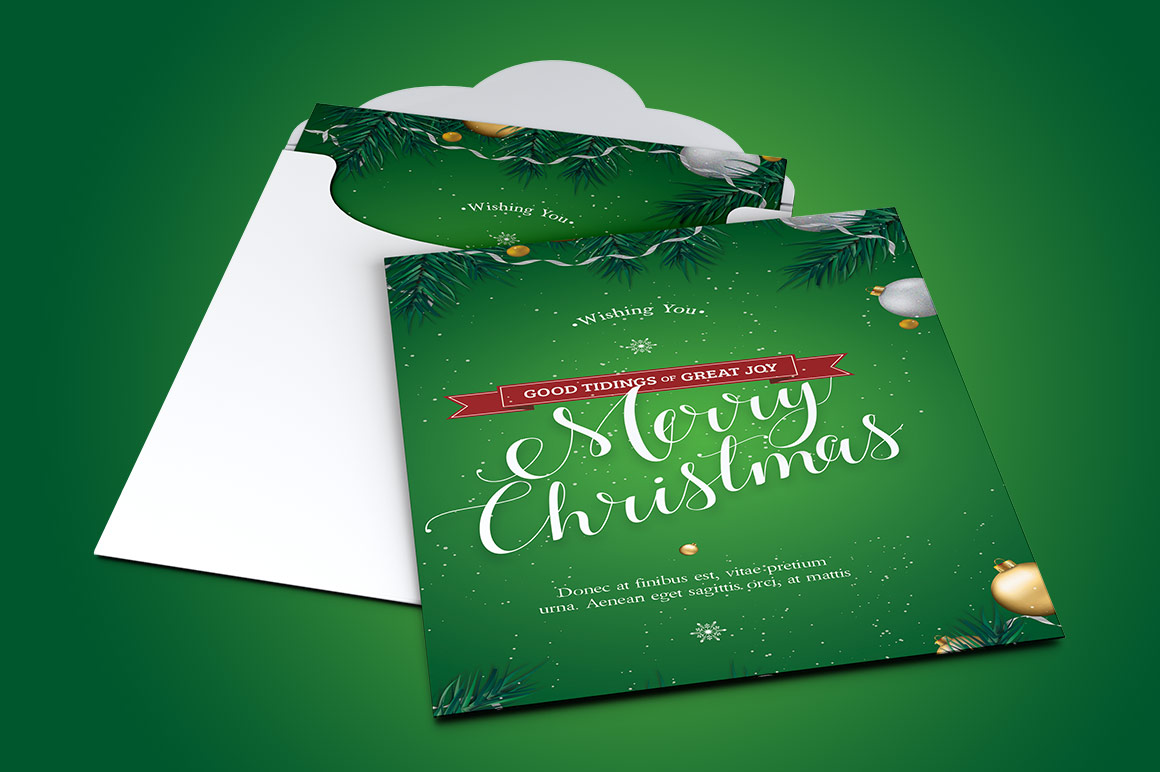 Green Christmas Greeting Card Template example image 3