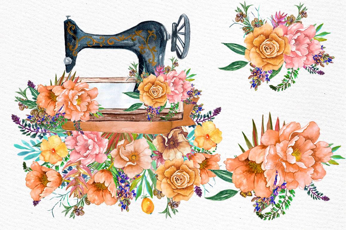 Watercolor floral clip art example image 4