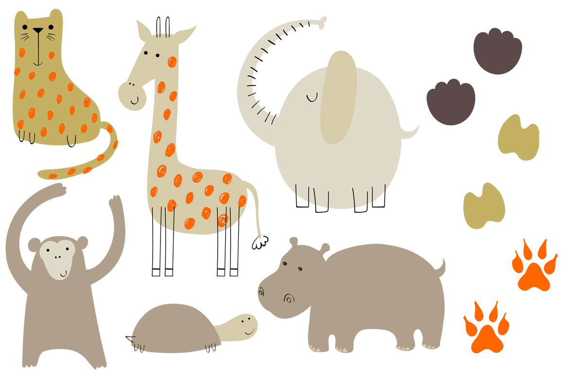 Safari animals. Vector set. example image 2