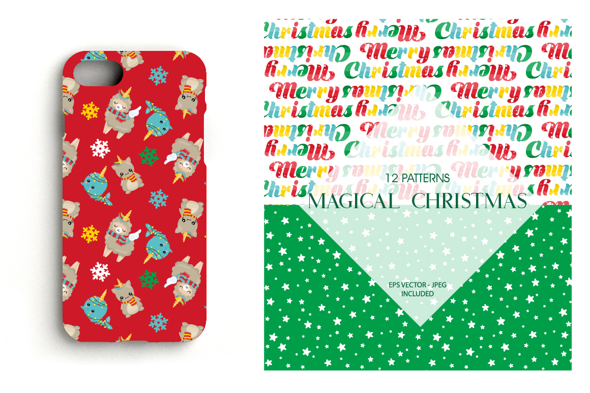 Christmas Magical Pattern collection, vector ai, example image 4