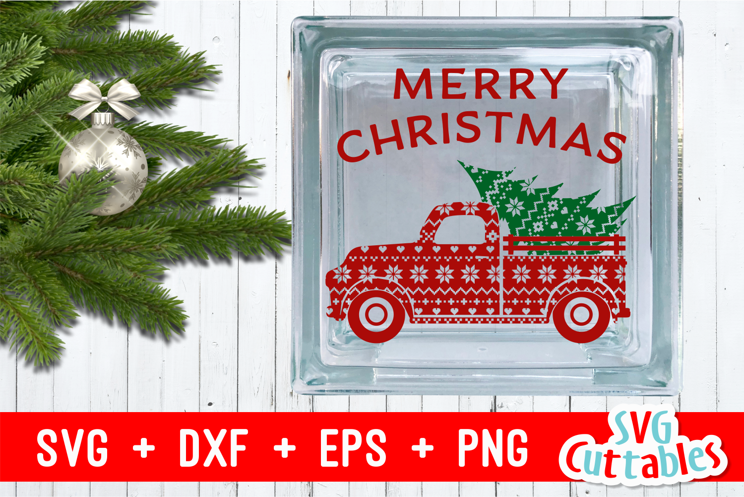 Merry Christmas Truck | Christmas Cut File example image 2