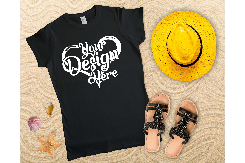 Gildan Ladies T-Shirt Mockup Mega Bundle Flat Lay 64000L example image 12