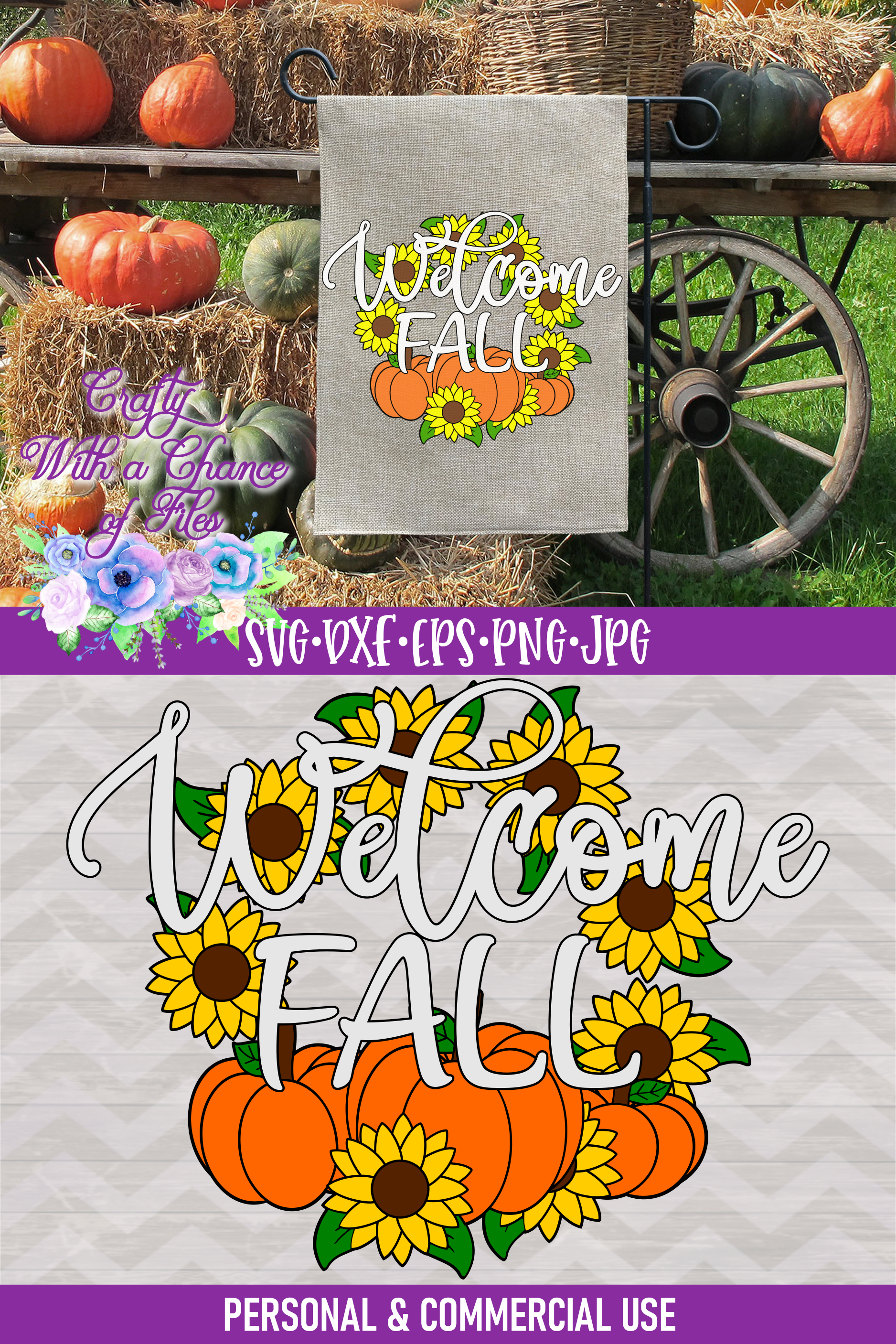 Welcome Fall SVG | Autumn SVG | Sunflowers SVG | Pumpkin SVG example image 4