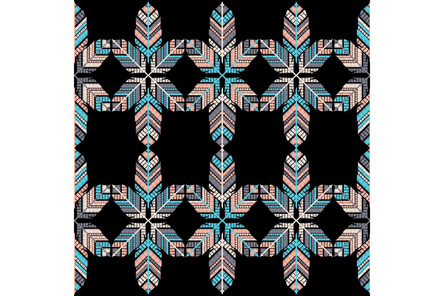 Indian colorful feathers. Set of 10 seamless patterns. example image 10