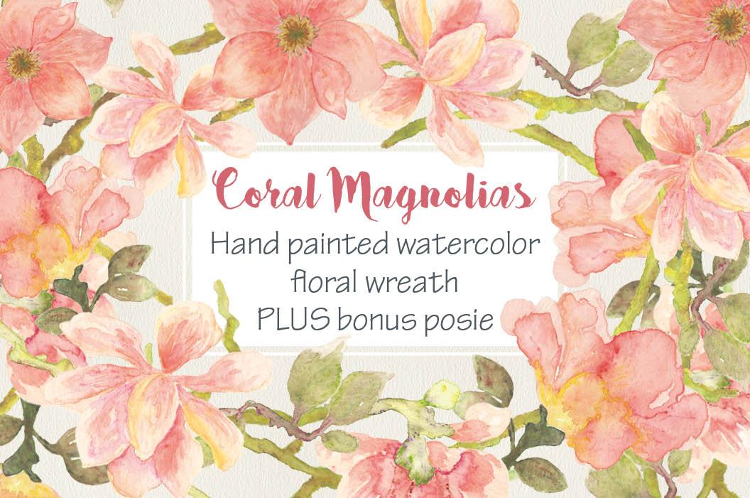 Watercolor wreath of coral Magnolias example image 1