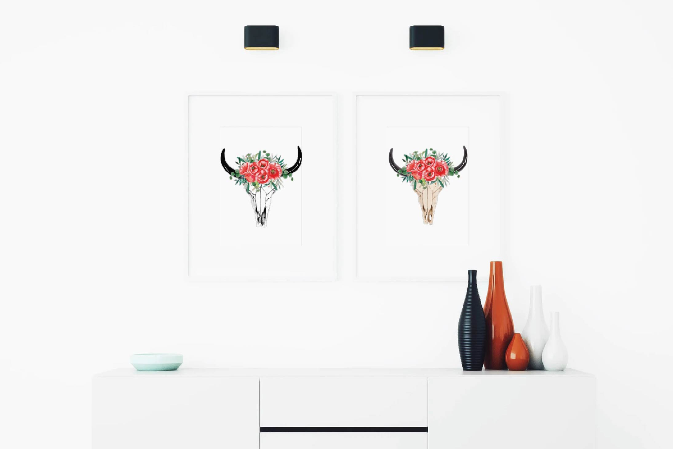 Watercolor Floral Bull Skull clipart, Indian Tribal vector example image 6