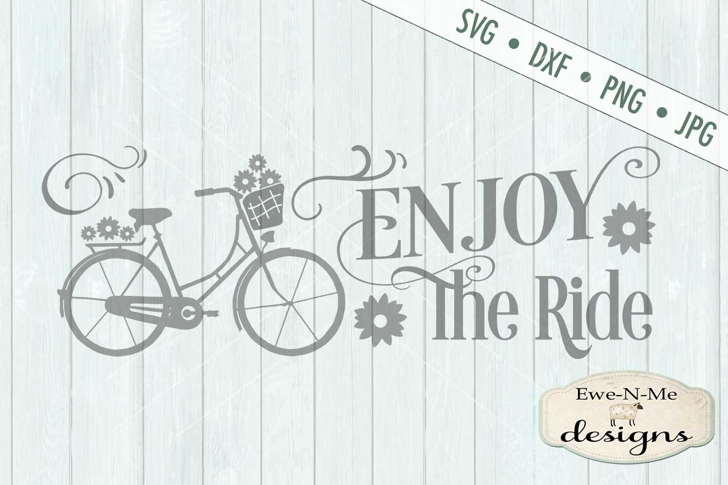 Enjoy The Ride Bicycle SVG DXF Files example image 2