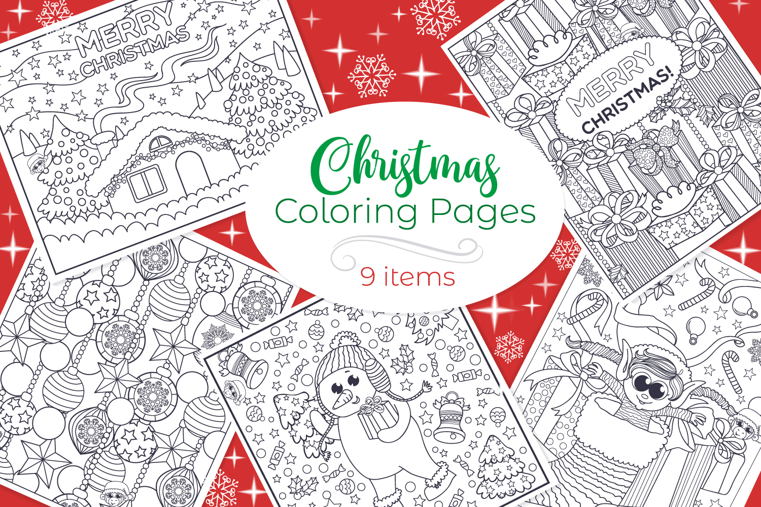 Christmas Coloring Pages- 9 vector items example image 1