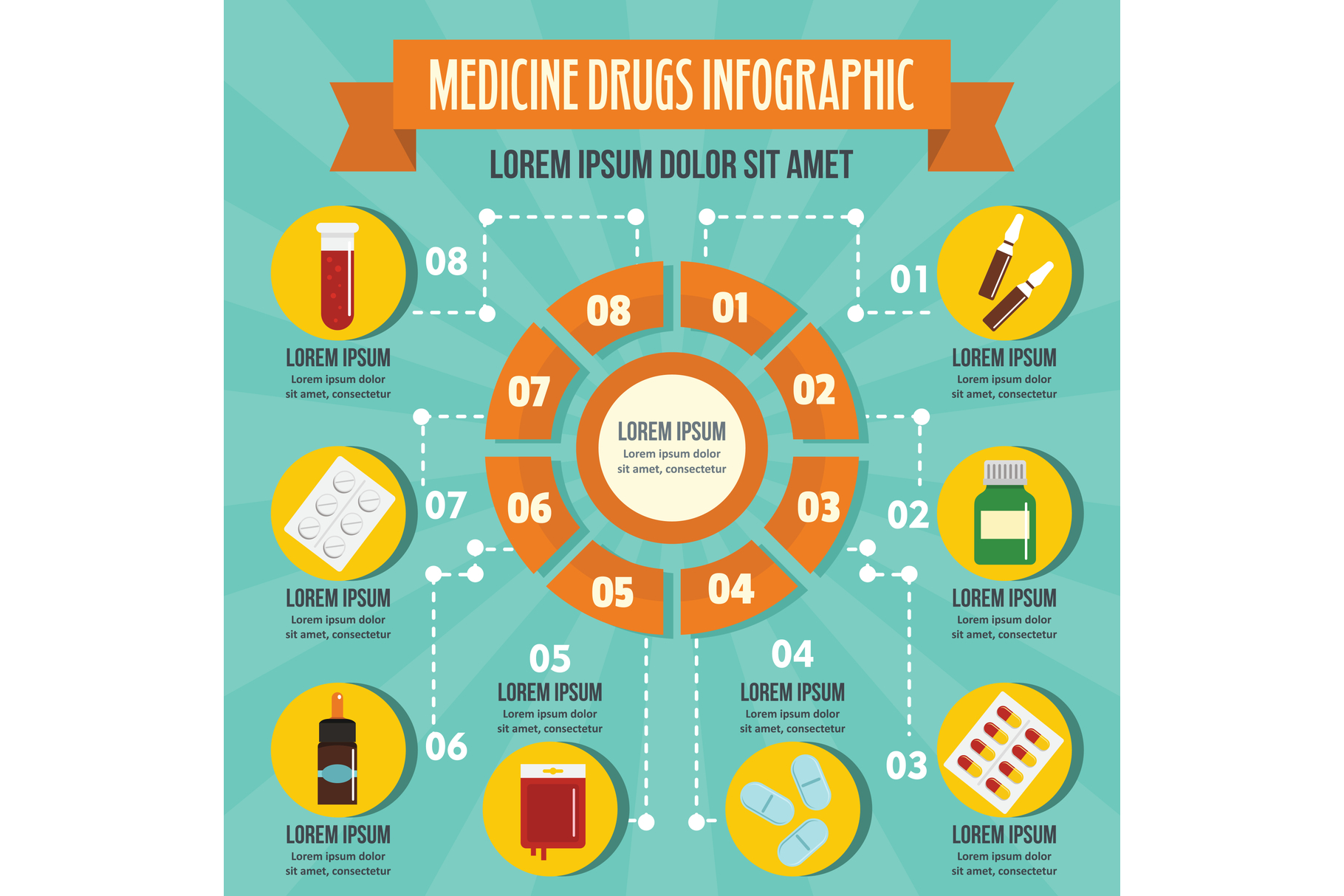 Medicine drugs infographic concept, flat style example image 1