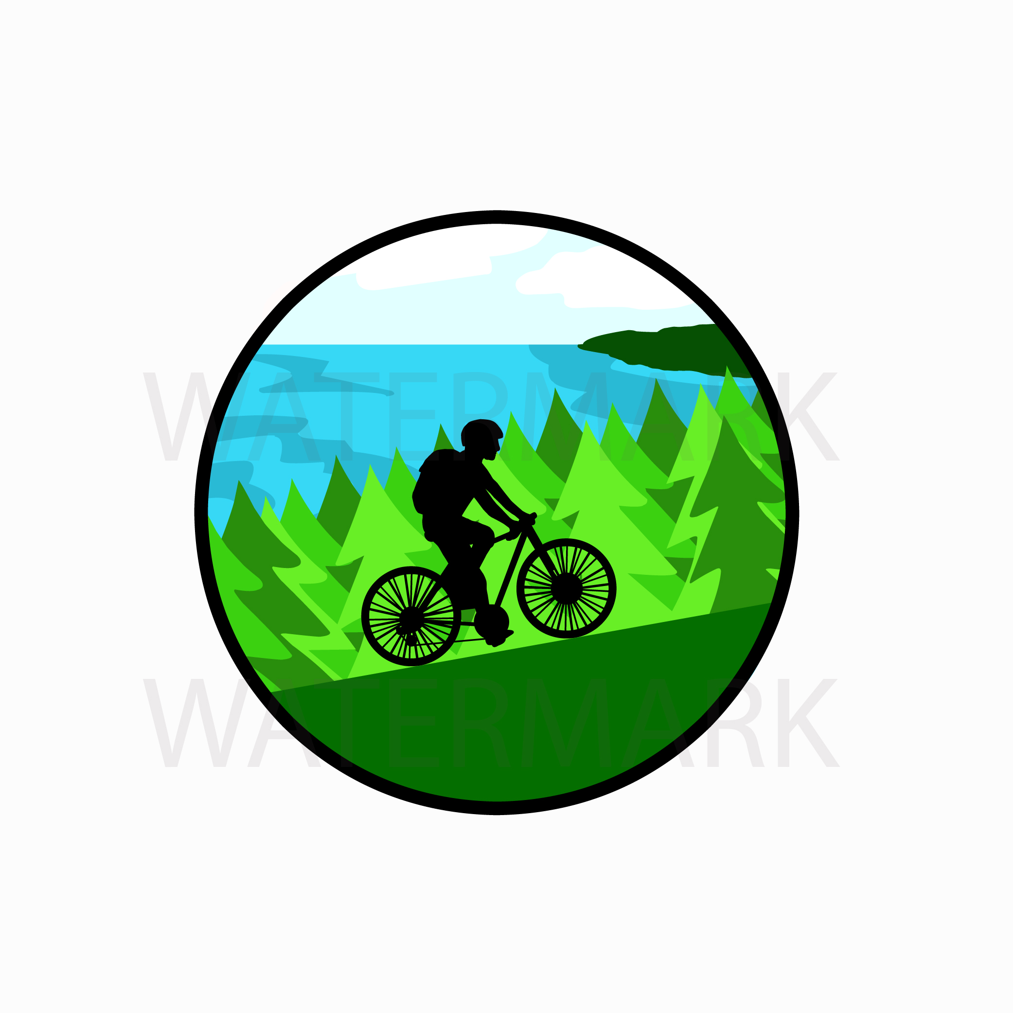 Bike on mountain by the lake with pine trees - SVG/JPG/PNG Hand Drawing example image 1