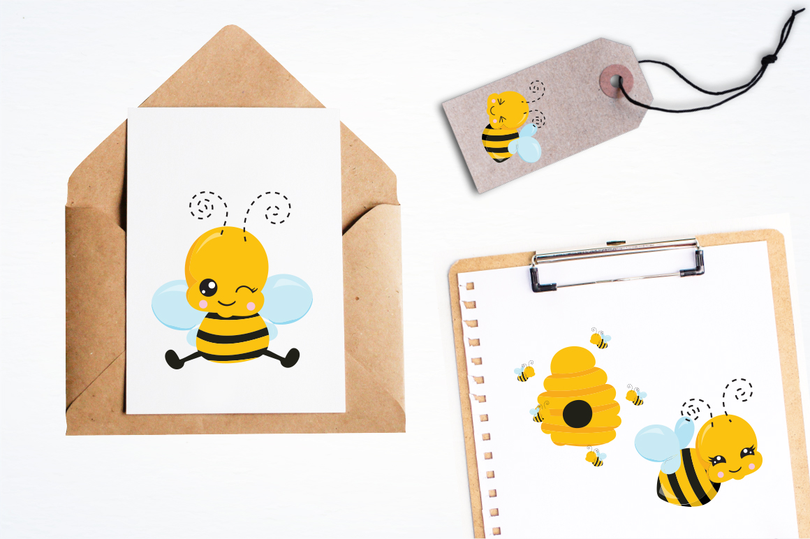 Kawaii Honeybees graphic and illustrations example image 4