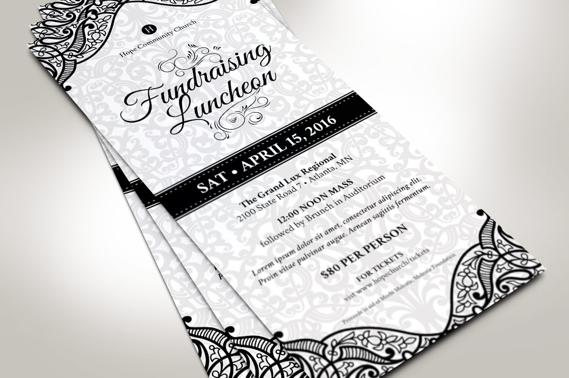 Black White Luncheon Flyer Template example image 3