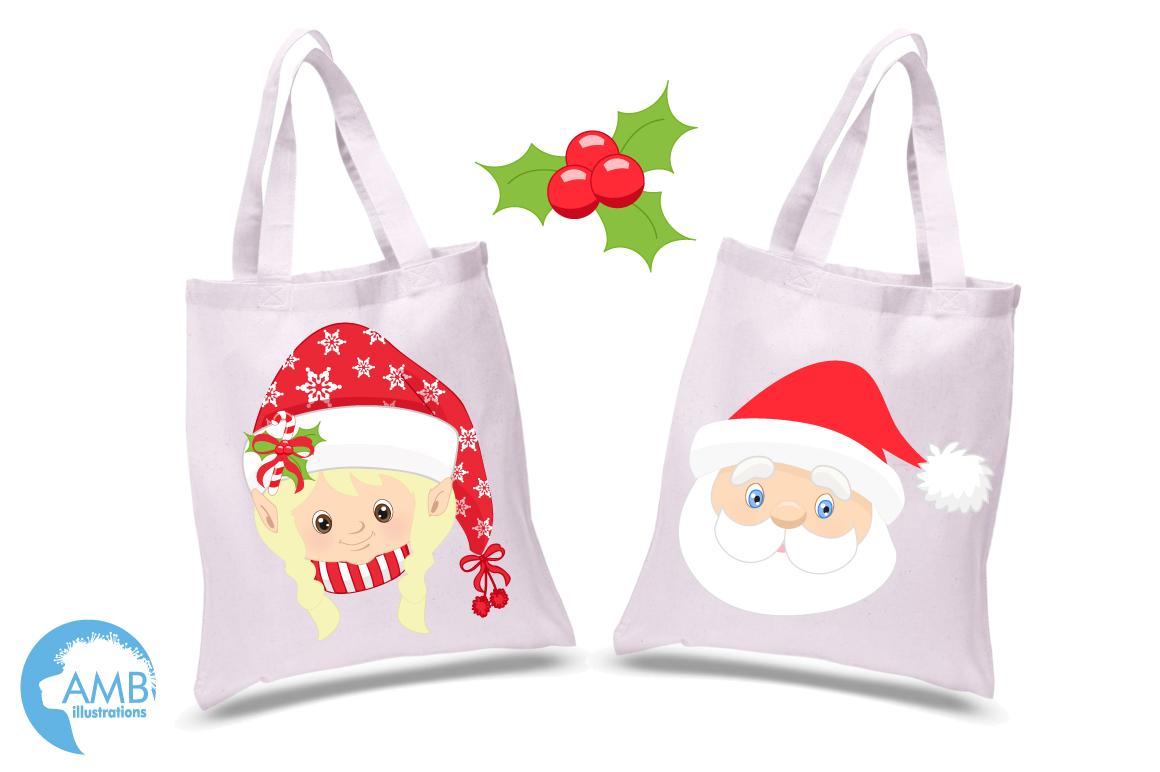 Santa, Mama Claus, elves, snowmen faces  clipart, graphics, illustrations AMB-191 example image 5